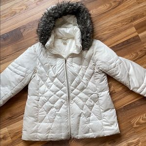 Down Jacket with Removable Fur Lined Hood